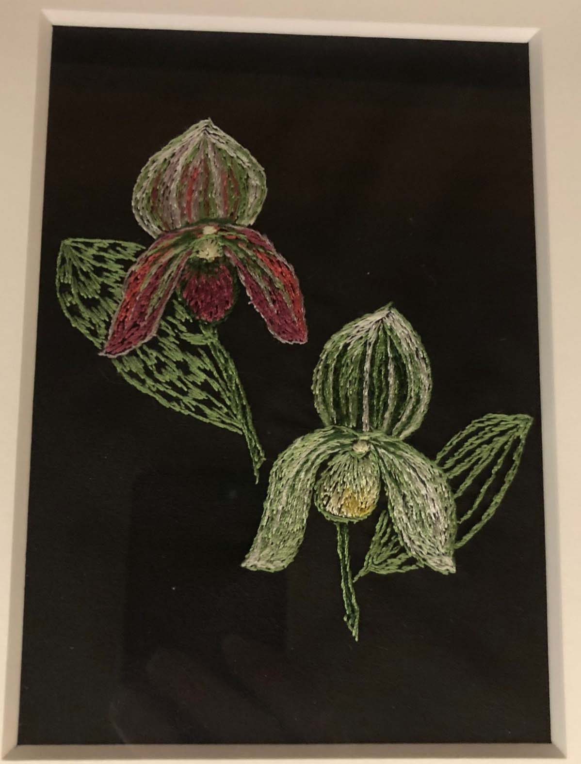 Silk Embroidery of Orchid, copyright © Ruth A Hanson