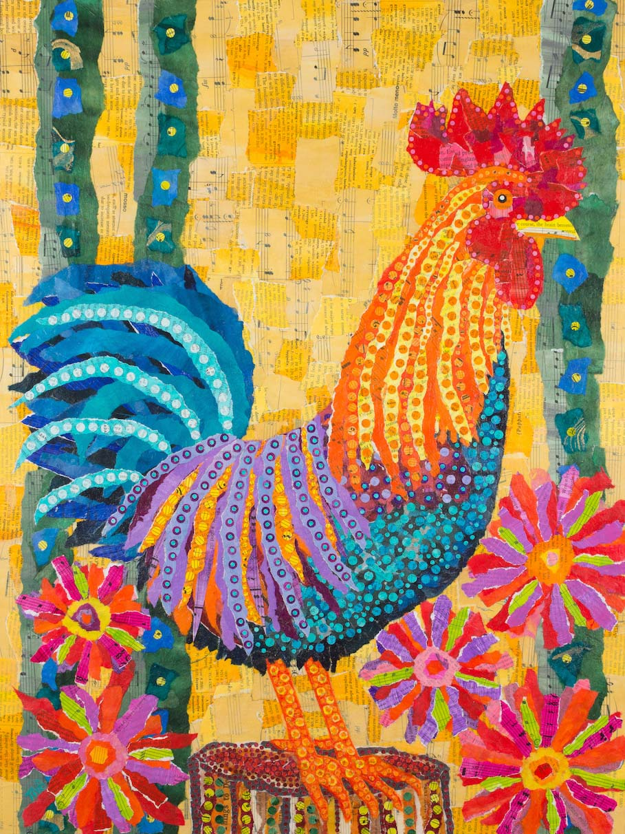 Rooster in the Flowers, copyright © Teal Buehler
