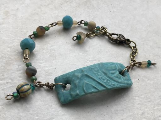 Turquoise Beaded Bracelet with Cream Accents, copyright © Angela Brasser