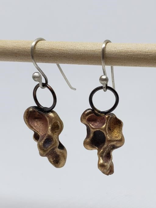Organic Coffee Cast Bronze Copper and Silver Drop Earrings, copyright © MONIKA PIAZZA