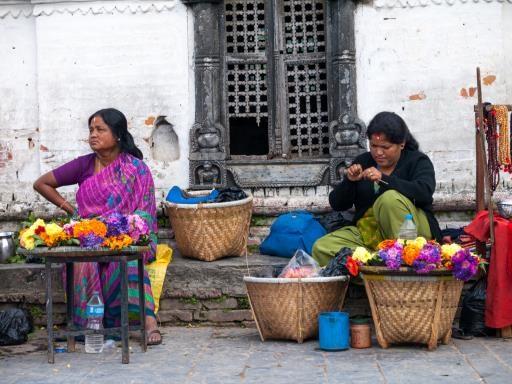 Flower Sellers, Pashupatinath, Nepal, copyright © Joe Whittington