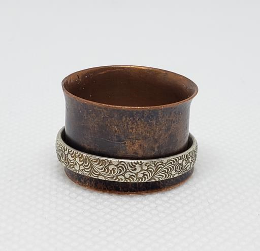Copper Sheet Band Half Round Etched Silver Spinner Ring Women's Size 8, copyright © MONIKA PIAZZA