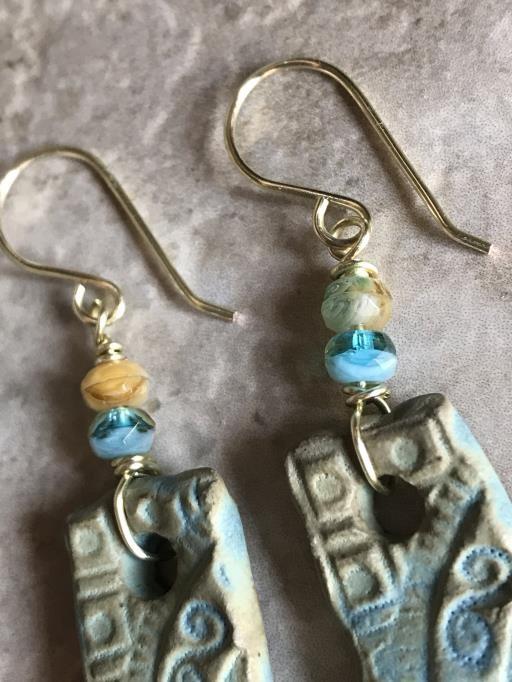 Cornflower Blue Artisan Dangle Earrings with Czech Glass, copyright © Angela Brasser