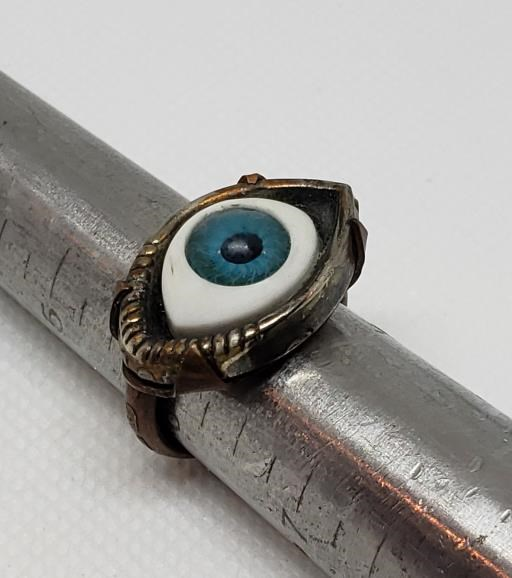 Copper Tab Set Eyeball Steampunk Ring Recycled Parts Ring Women's Size 6.5, copyright © MONIKA PIAZZA